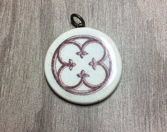 Porcelain Ephemera Pendant with Vintage Image