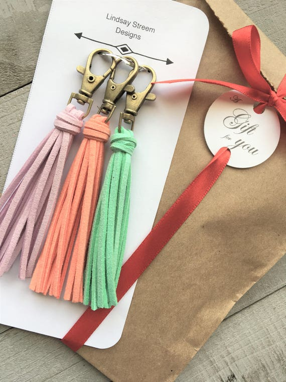 Gift Set - Trio of Mini Tassel Purse Charms - Mint Lavender Coral - Gift Under 25, Bag Charm, Handbag Tassel, Zipper Pull, Tassel Keychain