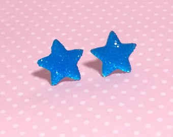 Bright Blue Faux Druzy Star Studs, Sparkling Large Novelty Celestial Earrings, Surgical Steel Posts (SE15)