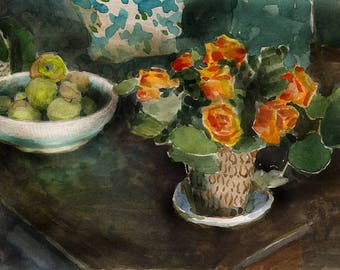 Study for Sage and Cider - watercolor still life of orange roses and green apples Belinda DelPesco