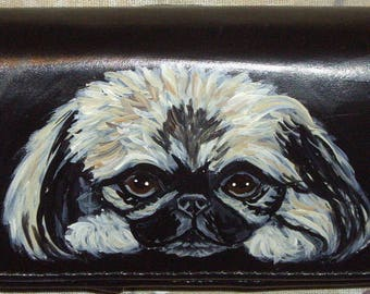 Pekingese Dog Painted Leather Cell Phone Case SALE