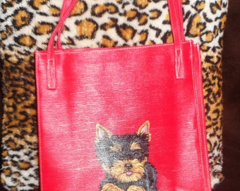 Yorkshire Terrier Yorkie Dog Hand Painted Totebag Shopping Bag Purse OOAK Vegan FINAL SALE