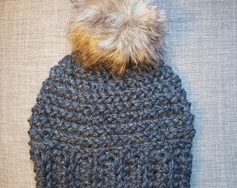 Gray Chunky Crocheted Beanie Hat with Tan & Brown Pom-Pom for Women