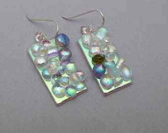 Stunningly beautiful dichroic glass earrings fused dichrodots glass Sterling silver ear wires dangle drop transparent bubble dot texture
