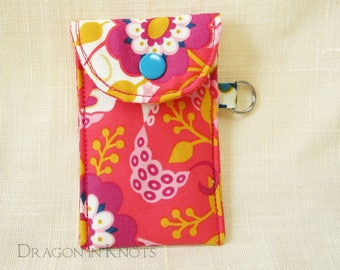 Lip Gloss Holder - Bright Pink Insulated Lip Balm Pouch with optional clip, flowers and tentacles, floral keychain card wallet case