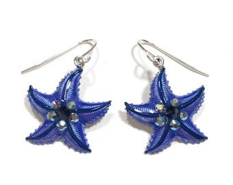 Starfish Earrings Pearlized Denim Blue and Navy with Crystal Accents
