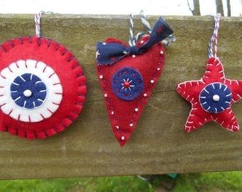 Folk Art Ornaments, Rustic Ornaments, Hearts Ornament, Star Ornament, Fiber Art, Home Decor, Holiday Decor