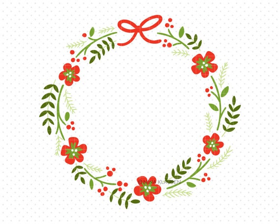 Doodle Wreath Clip-Art / Red and Green Flower Circle / C0003
