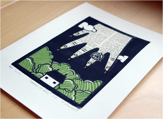 Hand of God - Linoleum Print