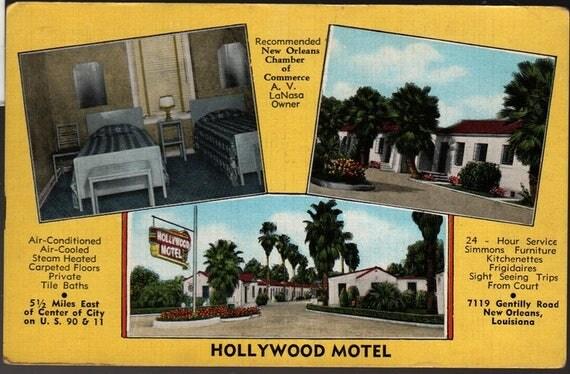Hollywood Motel – New Orleans, Louisiana – Vintage Photo Postcard