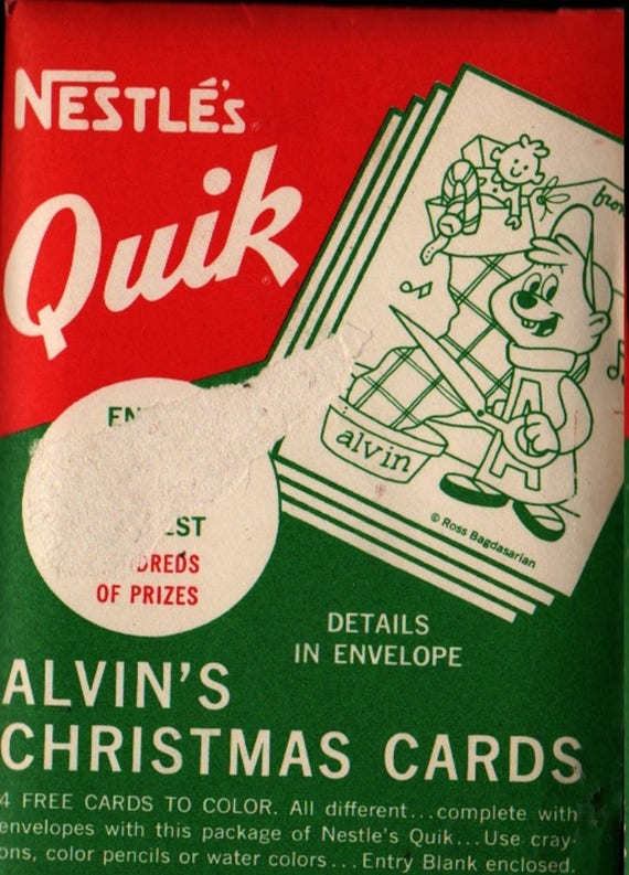 Nestle's Quik Alvin and the Chipmunks Christmas Card Set - Set of 4 cards with 4 envelopes - Vintage Christmas Card