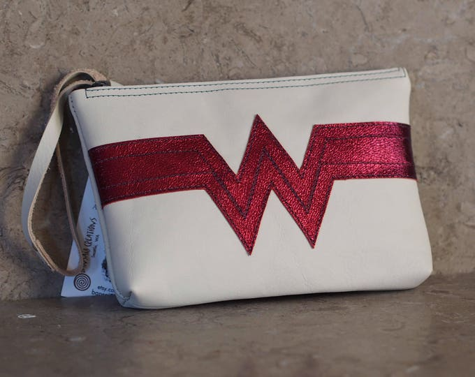 Wonder Woman Classic inspired leather wristlet pouch