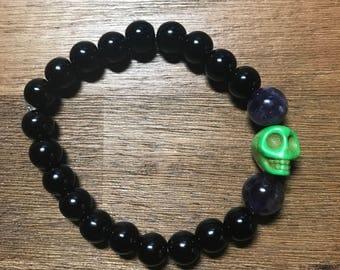 Bewitching Black Glass Skull Bracelet