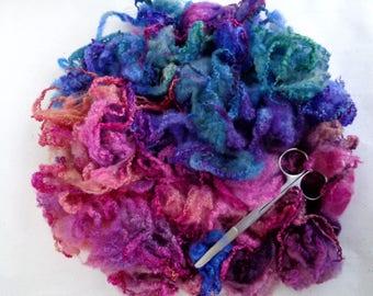 1.8oz, Handpainted Bluefaced Leicester curly fleece, curls, locks, felting wool, dolls hair, wool hair, wool curls, pink, purple,lot -A-,50g