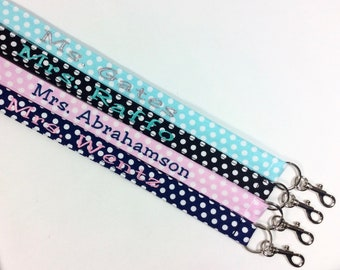 polka dot lanyards for ID badges personalized lanyard for cruise key lanyard personalized lanyard dot lanyard teacher lanyard landyard