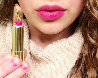 SALE Kailijumei Flower Lipstick with Gold Flakes & REAL Flower Holiday Gift idea Black Friday Sale Boho Gypsy Lip Stain Jelly Lipgloss