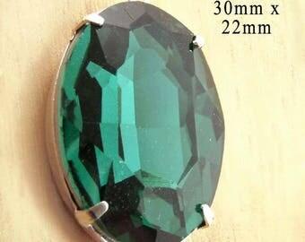 Emerald Green Oval Glass Pendant - 30x22 Rhinestone Pendant - Silver or Brass Setting - 30mm x 22mm Glass Gem