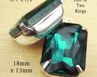 Emerald Green Glass Beads - 18x13 Octagon - Rhinestone Earrings or Pendants - 18mm x 13mm - Glass Gems - Set Stones - One Pair