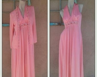 ON SALE Vintage 1960s Dress Long 60s Goddess Maxi Cantaloupe Jeweled 2 PC Us10 B36