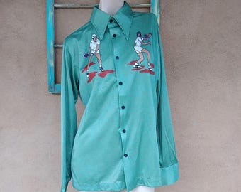 ON SALE Vintage 1970s Mens Shirt 70s Disco Fashion Tennis Mens 42 44 Sz L