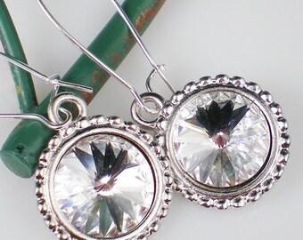 SALE Crystal Rivoli Rhinestone Earrings Swarovski Jewelry