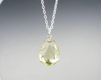 SUMMER SALE Pale Yellow Rhinestone Necklace Yellow Wedding Bridesmaid Necklace Jewelry