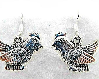 Chicken Charm Pierced Earrings - 925 Silver Wires - Chicken Hen Fowl Charms - Dangle Earrings - Alloy Charms - Chicken Jewelry Gift