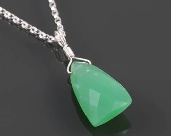 Chrysoprase Necklace. Sterling Silver. Unique Triangle Shape. Genuine Gemstone. 16 Inch, 18 Inch, or 20 Inch Necklace.  f17n006