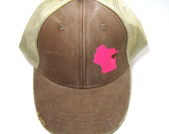 Distressed Snapback Trucker Hat - Neon Pink on Brown Wisconsin Hat - Heart over Green Bay