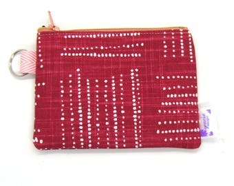 Coin Purse / Change Purse / Coin Pouch / Gadget Pouch - Grenadine Red Geometric Dots
