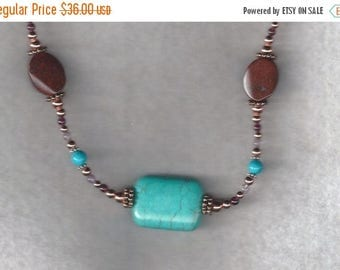ON SALE Jasper and Turquoise Necklace