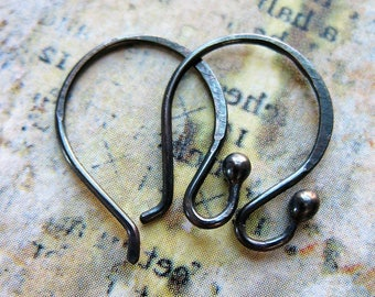 Blackened Sterling Silver Ball Tipped Ear Wires - 1 pair - 19mm in length - 20 gauge
