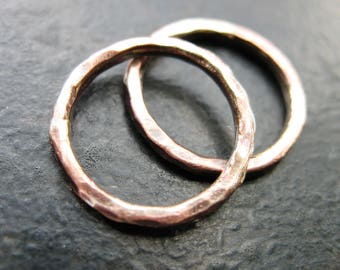 Fused Silver and Copper Hammered Links - 1 Pair - 16mm - 14 gauge