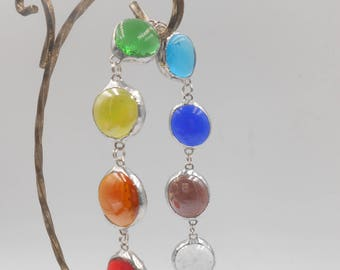 Chakra Glass Gem Link Bracelet with 8 stones enlightenment