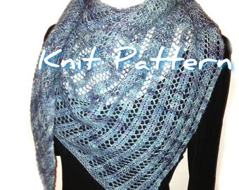 Knit scarf pattern, DIY lacy shawl knitters gift, triangle scarf pattern, make it yourself instant download pdf, one skein 4ply DK yarn