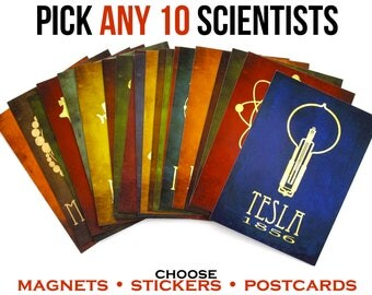 Science Postcards, Magnets, or Stickers. Steampunk Art Scientist Note Cards. Geeky Stationary. Teacher Gift. Laptop Decal. Fridge Decor.