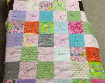 Quilt Patchwork Baby Quilt Minky and Flannel mix girl Crib Size
