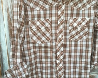 MEMORIAL DAY SALE- Vintage Western Shirt-- Plaid-Pearl Snaps-JcPenney-Large