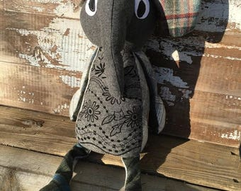 50% OFF- Nora the Elephant -Stuffed Softie-One of a Kind Toy-Eco Friendly Toy