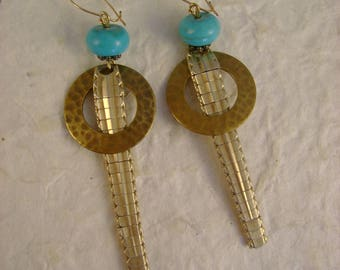 Timeless - Vintage Gold Filled Art Jointed Watch Bands Hammered Rings Turquoise Steampunk Jewelry Earrings