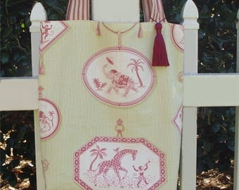 Large tote, carry all, bag, elephant, giraffe, monkey, red, green, ticking stripe