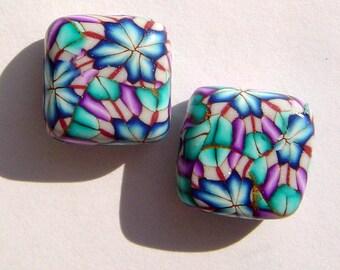 Blue Petals Square Handmade Artisan Polymer Clay Bead Pair