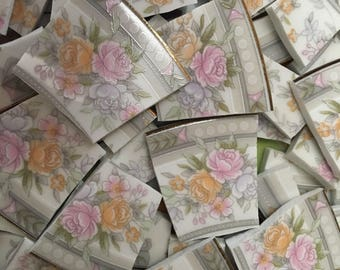 100 Mosaic Tiles Broken Plate Mix Hand Cut Mosaic Art Supply China Tile Pink Yellow Flowers Chintz Mix 100