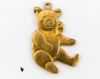 22mm Raw Brass Teddy Bear Charm (2 Pcs) #CHA054