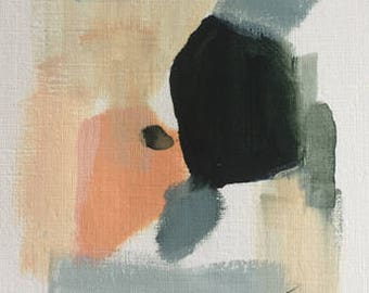 abstract painting acrylic painting on paper small abstract painting green grey and peach pamela munger original