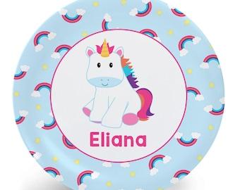Personalized Unicorn Plate - Cute Little Unicorn - Personalized Plate for Kids - Child's Plate - (Plastic) Bowl Plate Placemat Mug or SET