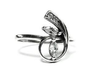 Sterling Silver Ring Diamond Phianite Marquise Swirl Engagement Ring