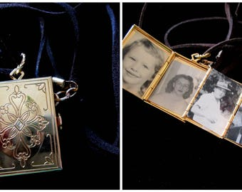 The Basic Rectangle - Vintage 5 Picture Cross Locket Necklace