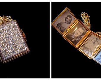 Vintage Coro 4 Picture Locket - Belle of the Ball
