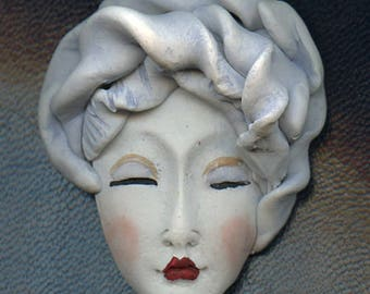 NEW ! OOAK Polymer Clay One of a kind Detailed White  Face with Textured Hat NAS 1